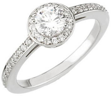 Halo Style Accented Band 14 Karat White Gold 3/4 Carat Total Weight Diamond Engagement Ring