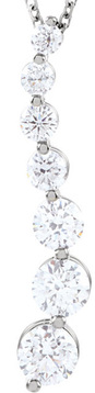 Journey Style 14 Karat White Gold 1 Carat Total Weight Diamond Necklace - 7 Diamonds