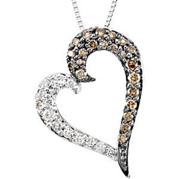 Unique 1/4ct Half Brown Diamond and Half White Diamond 14k White Gold Heart Pendant - FREE Chain