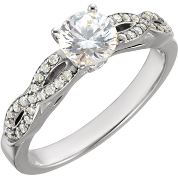 Twisted Accented Band 14 Karat White Gold 1 1/6 Carat Total Weight Diamond Engagement Ring