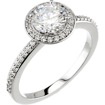 Halo Style Accented Band Continuum Sterling Silver Cubic Zirconia & 1/5 Carat Total Weight Diamond Engagement Ring