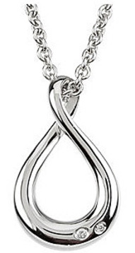 Fluid and Artistic Figure Eight Infiniti Pendant with .02ct Diamond Accents in Sterling Silver - FREE Chain