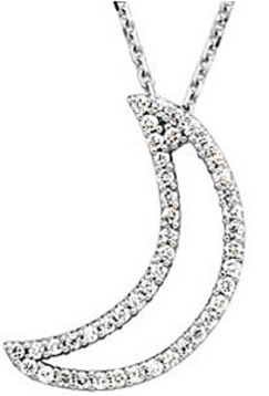 Dreamy .2ct Diamond Studded Waning Moon Sliver Pendant in 14k White Gold for SALE - FREE Chain