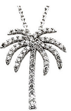 Fun and Tropical 1/3ct Diamond Studded Palm Tree Pendant in 14k White Gold - FREE Chain
