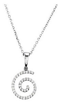 Contemporary .2ct 14k White Gold Swirl Pendant for SALE - FREE Chain Included - SOLD