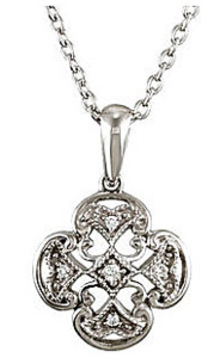 Magnificent Clover Shaped .03ct Diamond Accented Sterling Silver Pendant for SALE - FREE Chain Included