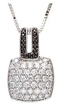 Amazing 1.25ct Pave White Diamond Square Pendant with Black Diamond Linking Accents  - FREE Chain