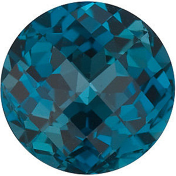 Grade AAA - Checkerboard Round Genuine London Blue Topaz 7.00 mm to 8.00 mm