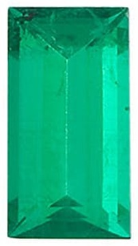 Emerald Gem, Baguette Shape, Grade AA, 3.50 x 2.50 mm in Size, 0.13 Carats