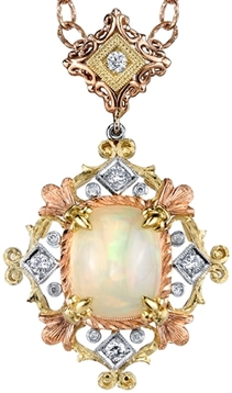 Beautiful Detail in 18 karat Tri-Color Gold Pendant With Incredible 2.91carat Fireball Ethiopian Opal - SOLD