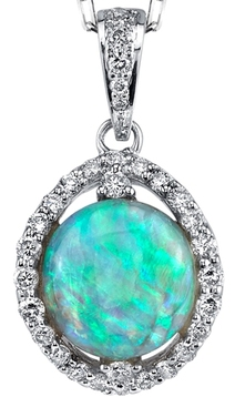 Stunning Gem in 3.8 carat Teal Blue Black Crystal Opal Gemstone Pendant With Diamond Accents - 18kt White Gold
