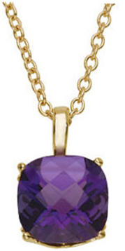 14KT Yellow Gold 10mm Checkerboard Amethyst 18