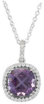 14KT White Gold Amethyst & 1/3 Carat Total Weight Diamond 18