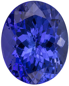 Saturated Tanzanite Loose Gem in Oval Cut, Rich Blue, 10 x 8.1 mm, 3.26 carats