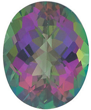 Grade AAA - Checkerboard Oval Genuine Mystic Green Topaz 12.00 x 10.00 mm to 14.00 x 10.00 mm