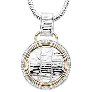 Stylish Circle Shaped 2-Tone Sterling Silver and 14k Yellow Gold Pendant with a 1/3ct Diamond Studded Frame - FREE Chain