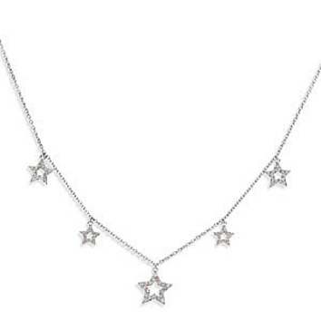 Lovely 1/2ct 14k White Gold Diamond Pendant With 5 Dangly Star Shaped Charms - SOLD