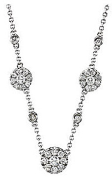 Splendid 1/2ct Diamond Necklace With Diamond Cluster and Also Single Diamond Station Style Decorations