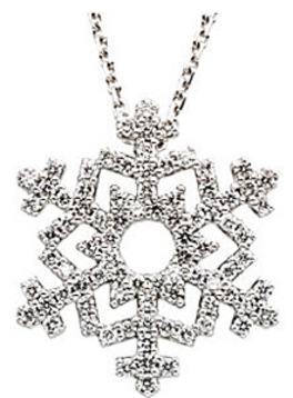 Wonderful Wintery Snow Flake Pendant With Glittering .38ct Diamond Accents - FREE Chain