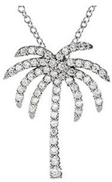 Tropical Palm Tree Shape .33ct Diamond Pendant in Platinum for SALE - FREE Chain