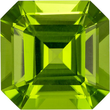 Pure Lime Green Peridot Loose Pakistan Gem in Emerald Cut, 10.3 x 10.3 mm, 5.69 Carats