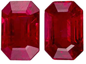 Very Clean Ruby Well Matched Pair in Emerald Cut, Medium Rich Red, 6 x 4.1 mm, 1.49 carats