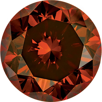Faceted Loose Natural Round Shape Enhanced Orange Diamond SI Clarity, 3.20 mm in Size, 0.12 Carats