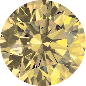 Round Shape Enhanced Yellow Diamond SI Clarity, 5.20 mm in Size, 0.55 Carats
