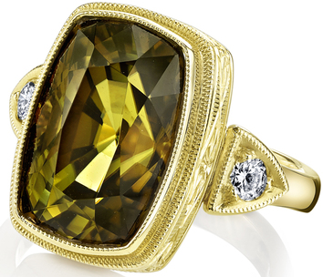 Super Large  6.75ct Cushion Cut Yellow Green Tourmaline Ring in Hand Carved 18kt Yellow Gold - Diamond Side Gems