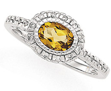 Dainty and Pretty Yellow .75ct 7x5mm Citrine Ring in White Gold with Diamond Accents for SALE