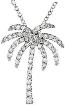 Platinum 1/3 Carat Total Weight Diamond Palm Tree 16