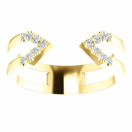 14 KT Yellow Gold 1/8 Carat Total Weight Diamond Geometric Ring