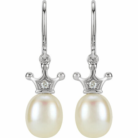 14KT White Gold .015 Carat Total Weight Diamond and Freshwater Cultured Pearl Crown Dangle Earrings