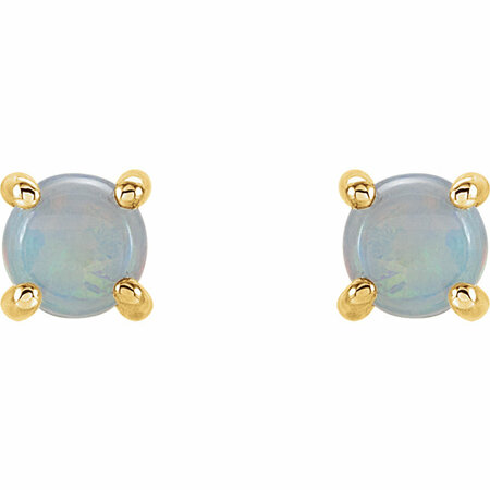 14KT Yellow Gold 5mm Round Opal Cabochon Earrings