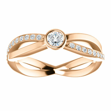 14 KT Rose Gold 1/3 Carat Total Weight Diamond Infinity-Style Ring