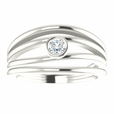 Sterling Silver 1/8 Carat Total Weight Diamond Ring