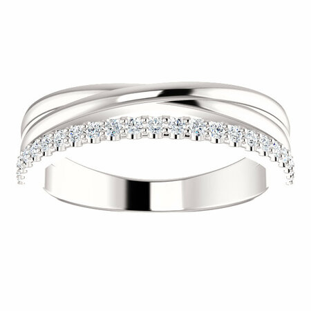 14 KT White Gold 1/4 Carat Total Weight Diamond Criss Cross Ring