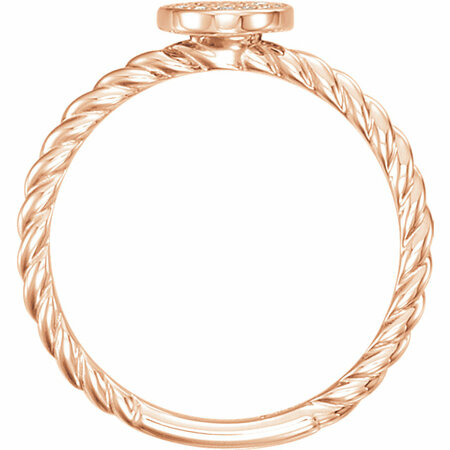 14 KT Rose Gold 1/6 Carat Total Weight Diamond Rope Cluster Ring