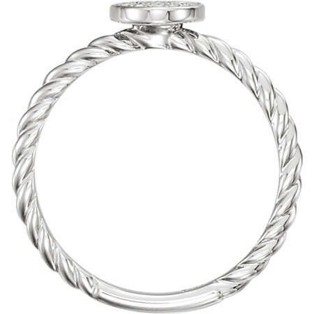 Sterling Silver 1/6 Carat Total Weight Diamond Rope Cluster Ring