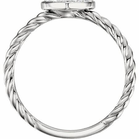 14 KT White Gold 1/8 Carat Total Weight Diamond Heart Rope Ring