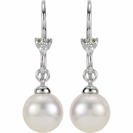 14KT White Gold .05 Carat Total Weight Diamond and Freshwater Cultured Pearl Dangle Earrings