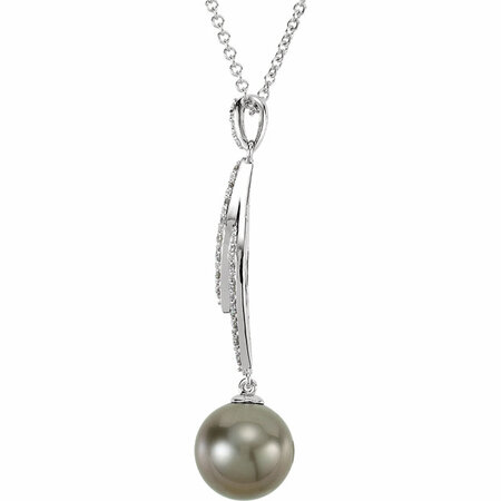 14KT White Gold 3/4 Carat Total Weight Diamond and Tahitian Cultured Pearl 18