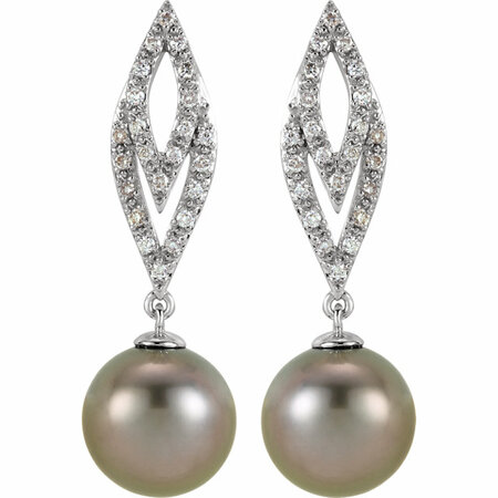 14KT White Gold 1/4 Carat Total Weight Diamond and Tahitian Pearl Earrings