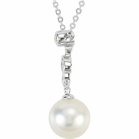 14KT White Gold 1/10 Carat Total Weight Diamond and Freshwater Cultured Pearl 18