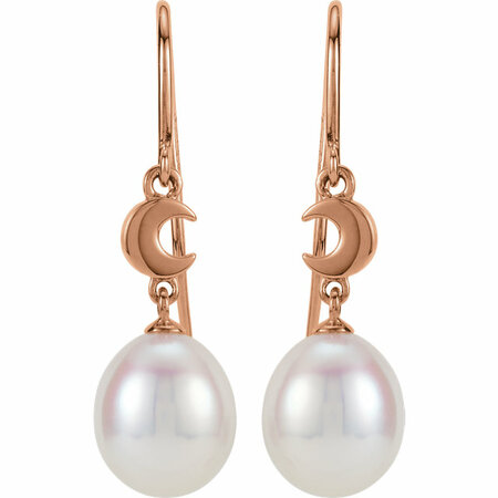 14KT Rose Gold Freshwater Cultured Pearl Moon Dangle Earrings