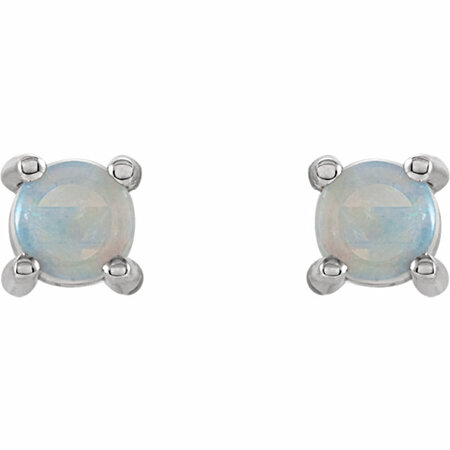 14KT White Gold 4mm Round Opal Cabochon Earrings