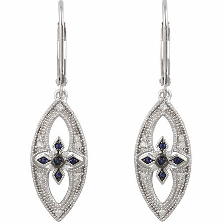 Sterling Silver Sapphire & 1/6 Carat Total Weight Diamond Lever Back Earrings