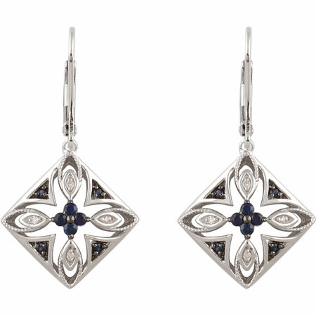 Sterling Silver Blue Sapphire & .04 Carat Total Weight Diamond Lever Back Earrings