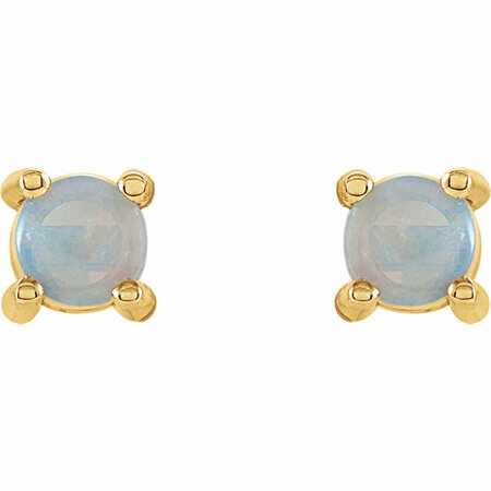 14KT Yellow Gold 4mm Round Opal Cabochon Earrings