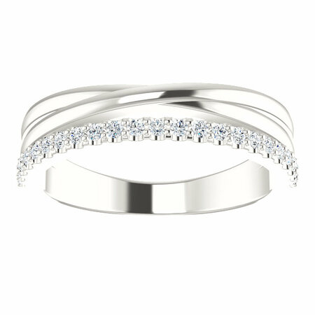 Sterling Silver 1/4 Carat Total Weight Diamond Criss Cross Ring